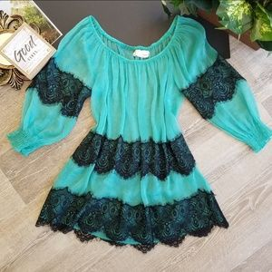 A'reve 3/4 Sleeve Sheer Lace Career Blouse Top Sm